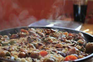 Spanish seafood paella with rice